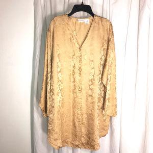 Vintage 100% Silk Tunic Sleepshirt, Size Medium